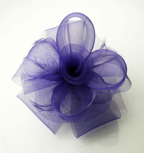 Purple  crin fascinator with feathers